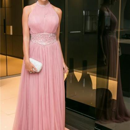 Pink Halter Neck Backless Prom Dress E166