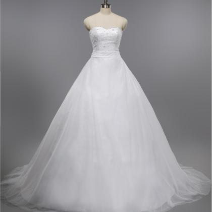 Ball Gown Puffy Crystal Lace Wedding Dress RE04