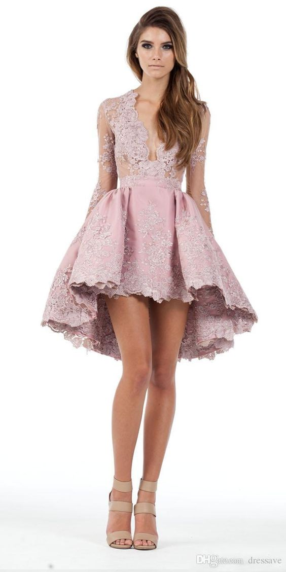 High Low Lace Party Dress With Long Sleeves 2eb7bd741