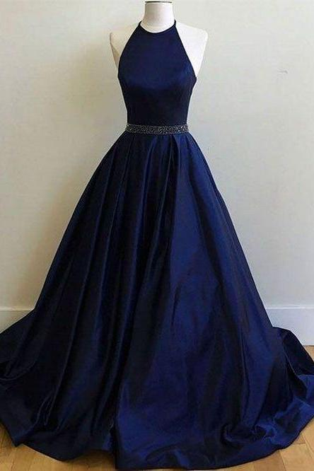Prom Dress,Evening Dress,Halter Prom Dress Long,Sexy Prom Dress Open Back,Navy Blue Prom Dress,A-line Prom Dress Plus Size P33
