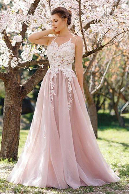 Prom Dress,Prom Dress Long,Pink and Ivory Prom Dress,Long Lace Prom Dress Plus Size,Evening Dress,A-line Evening Dress Lace Appliques P41