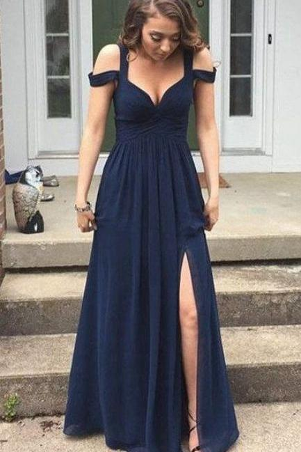 Chiffon Prom Dress,Navy Blue Prom Dress Long,Off-shoulder Prom Dress High Slit,A-line Prom Dress Plus Size,Sexy Prom Dress Cheap P44