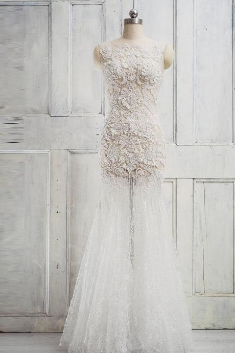 Sleeveless Sheer Bead Embellished Mermaid Wedding Dress, Bridal Gown